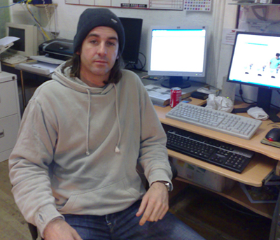 Keiron Jones, owner of Oner Signs, a graphic design, signmaking and graffiti shop in Church Street, Cardiff