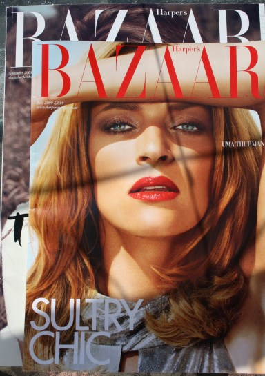 The September issue of Harper's Bazaar dwarfs a regular issue (in front)
