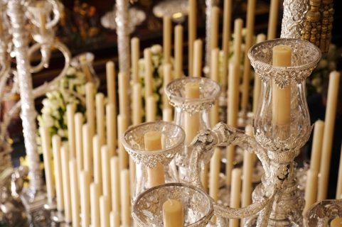A close up detail of some of the candles adorning one of the floats.