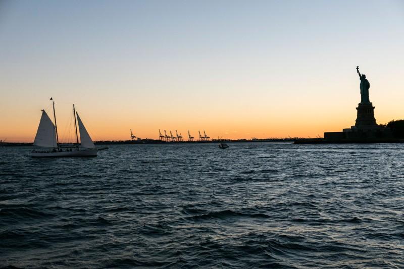 Lady Liberty at sunset.