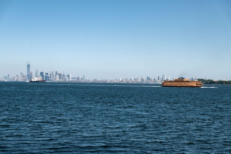View from Staten Island of the iconic orange ferry.